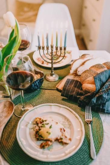 hanukkah meal on table