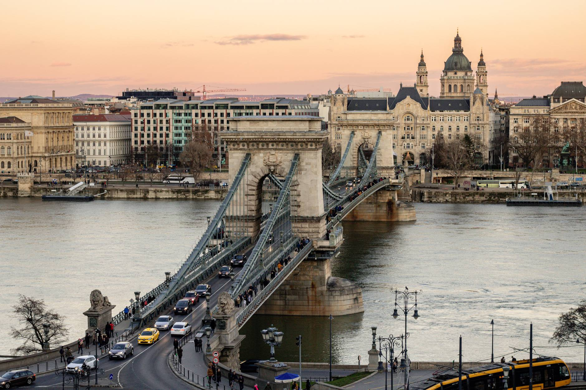 bridge over river near buildings